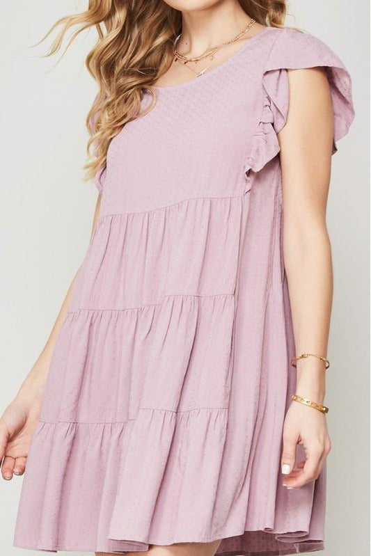 Swiss Dot Ruffled Babydoll Dress