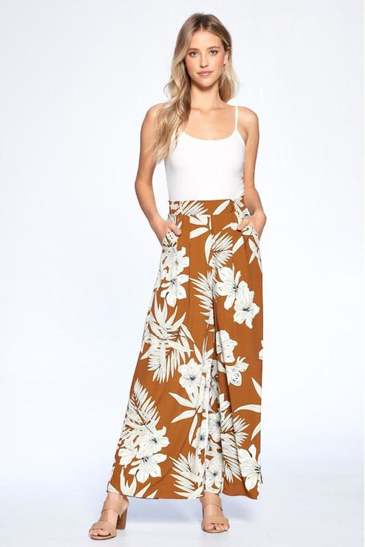 Serena Brown Tropical Wideleg Pants