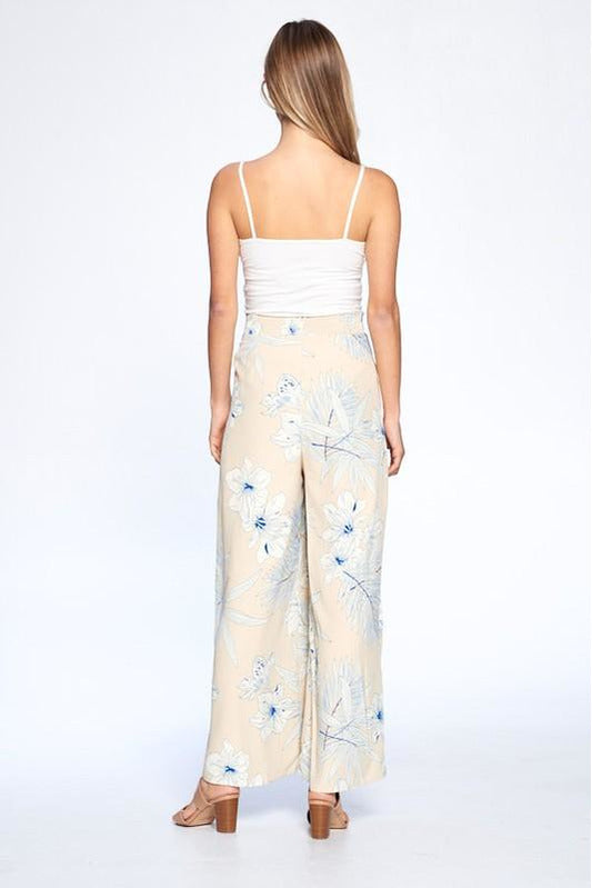 Ivory Serena Tropical Wideleg Pants