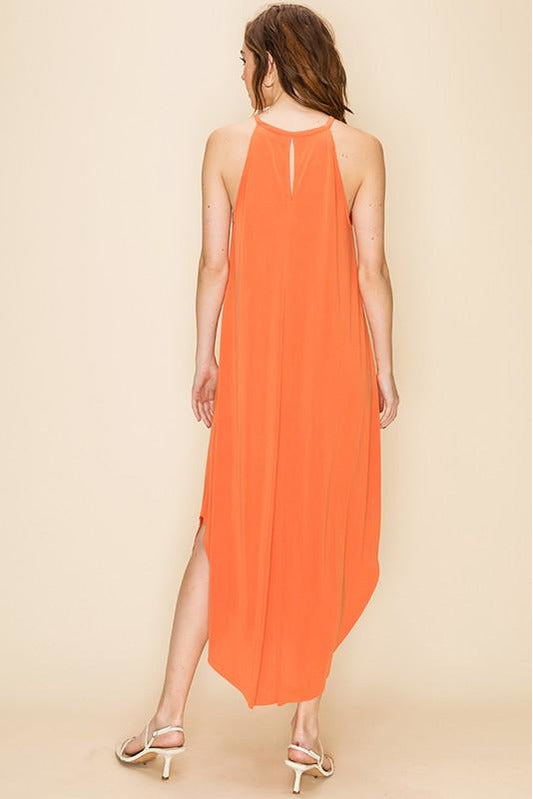 Orange Dress With Back Keyhole