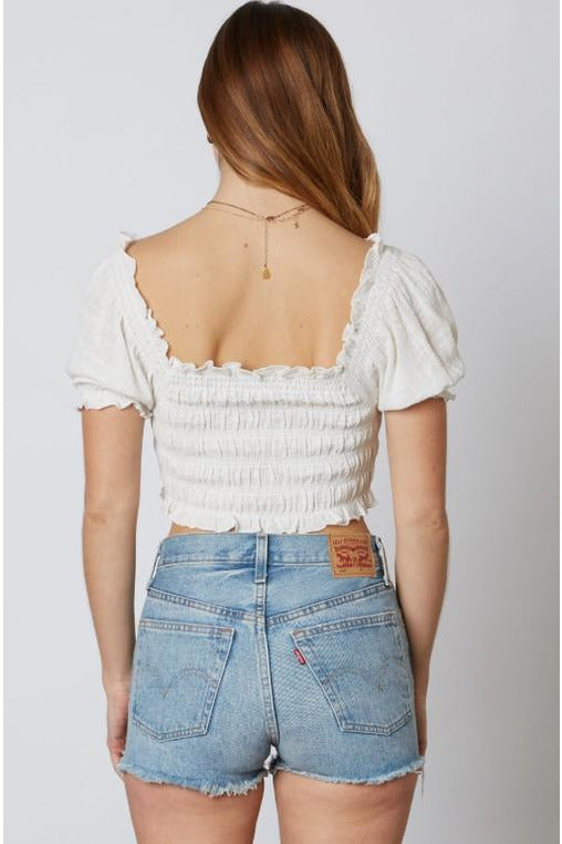 White Ruched Puff Sleeve Crop Top