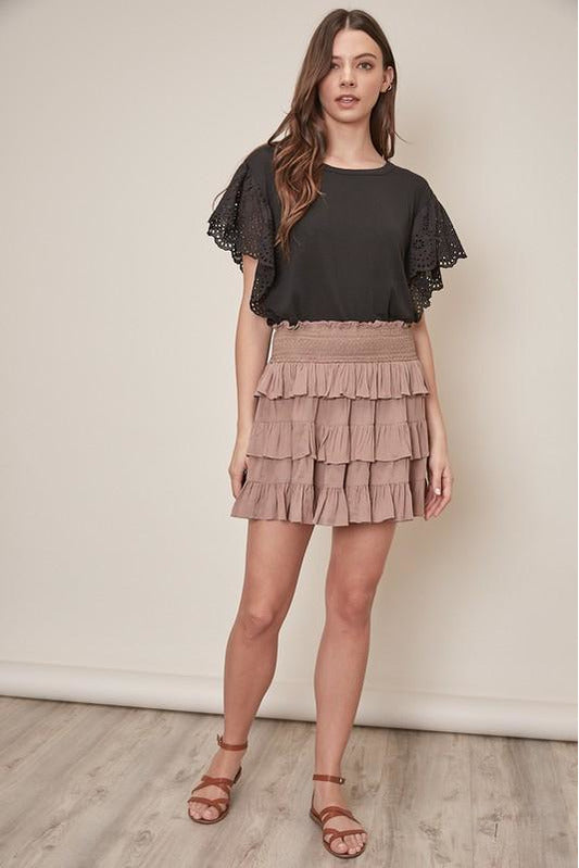 Smocked Waist Tiered Ruffle Skirt