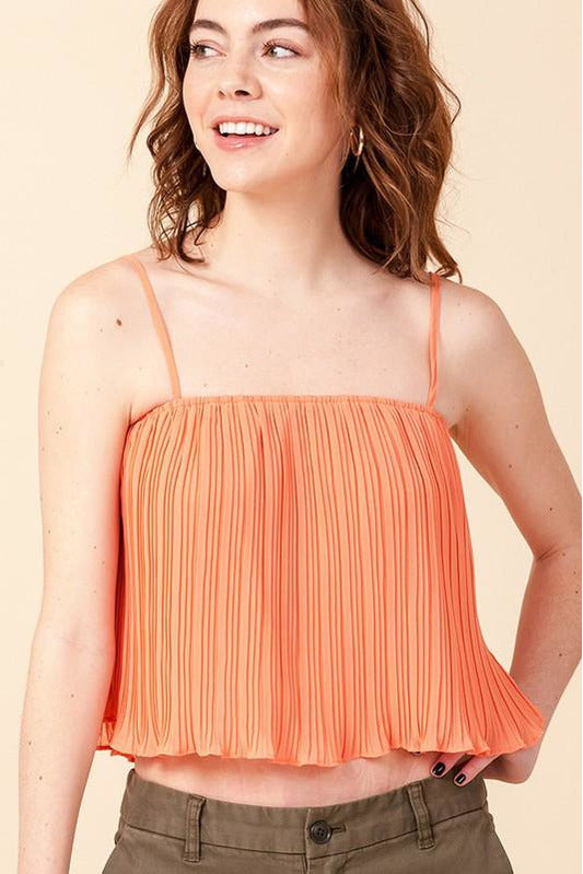 Pleated Cropped Cami Top