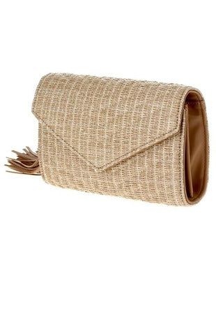 Straw Tassel Clutch