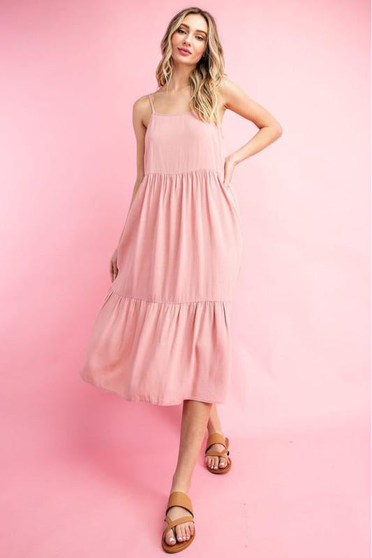 Mauve Baby Doll Tiered Midi Dress