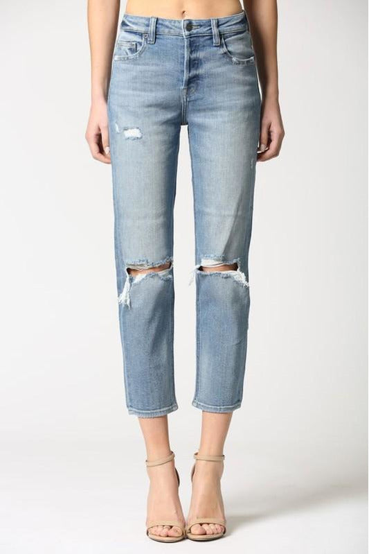 Medium Wash Distressed Mom Jeans