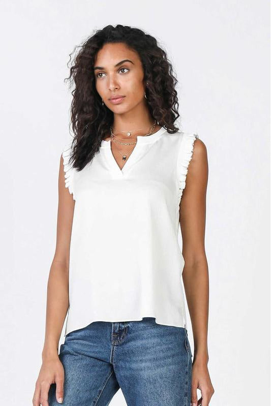 Sleeveless Ruffle Shoulder V Neck Blouse