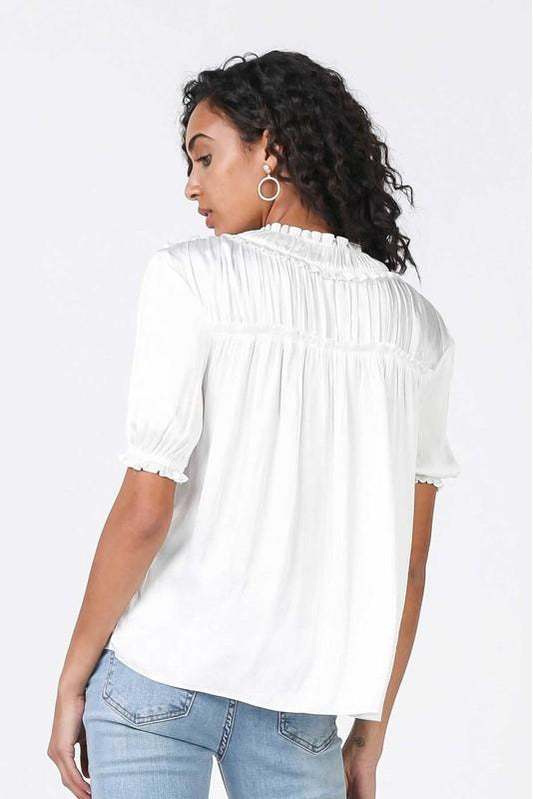Puff Sleeve Ruffle Top