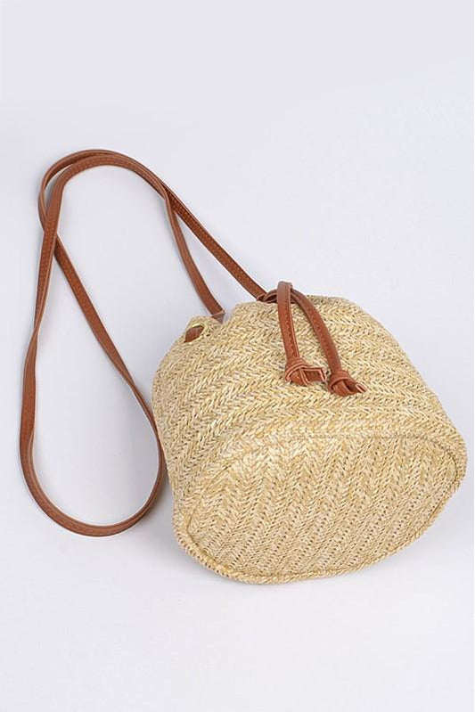 Straw Khaki Bucket Bag