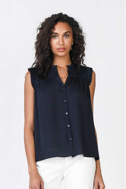 Navy Dot Button Down Sleeveless Top