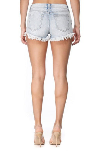 Pixie Low Rise Denim Shorts in Real Light