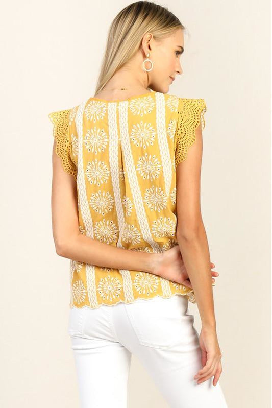Yellow Embroidered Eyelet Top