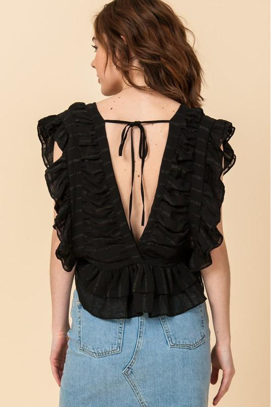 Pleated Crop Top With Ruffle Trim
