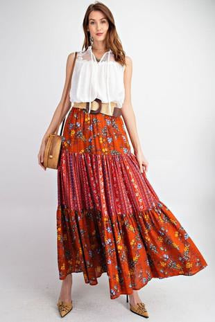 Bohemian Tiered Maxi Skirt
