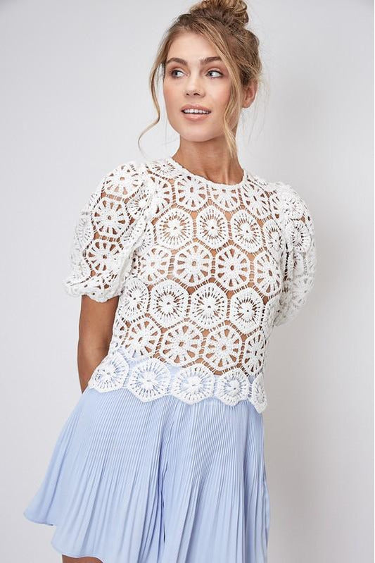 Cream Crochet Puff Sleeve Top