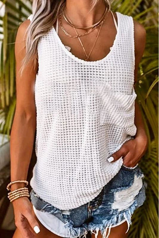 White Waffle Loose Fit Tank