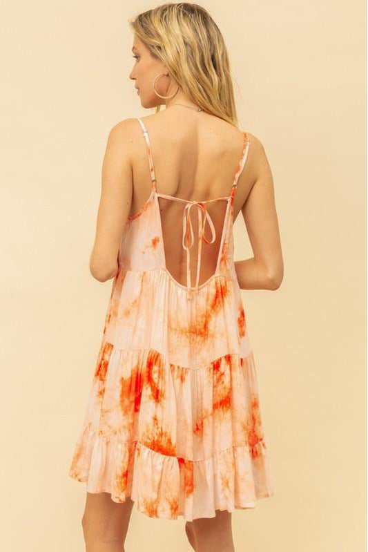 Tie Dye Tiered Baby Doll Dress