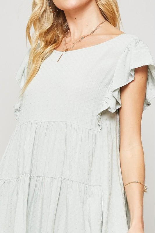 Sage Ruffle Sleeve Babydoll Dress