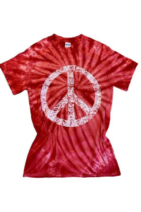 Red Peace Tie Dye Tee