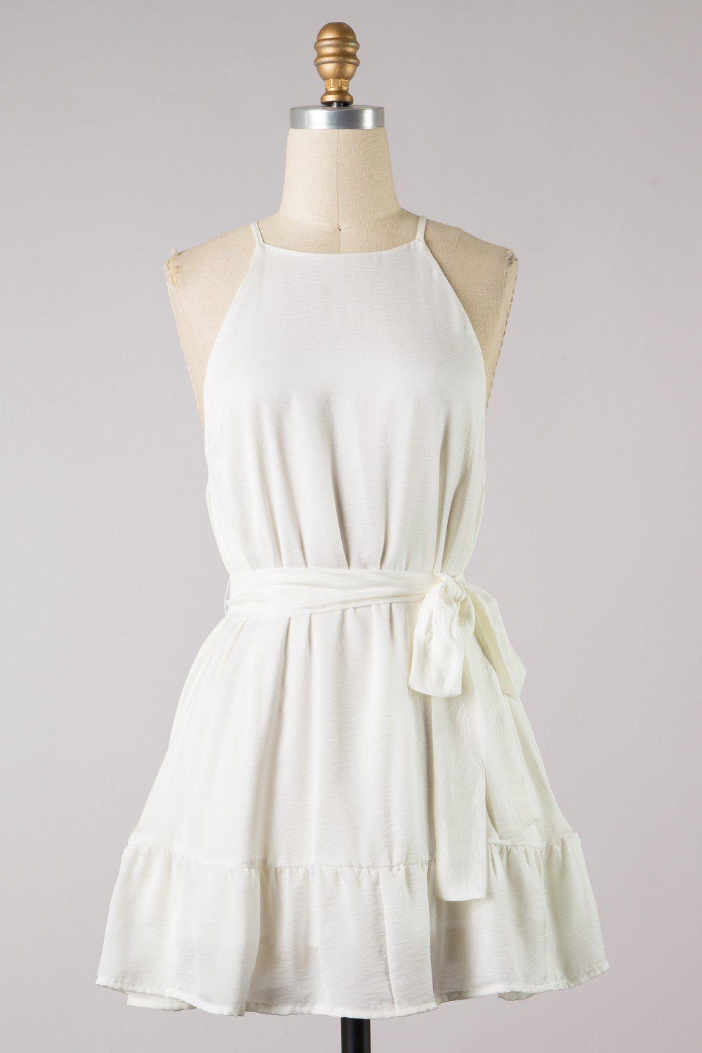 White Ruffle Bottom Shift Dress