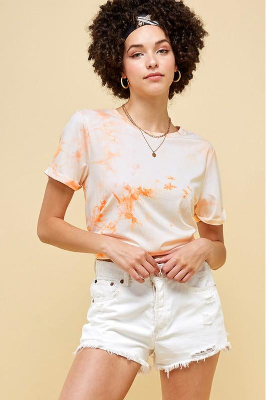 Orange Tie Dye Crew Neck Tee