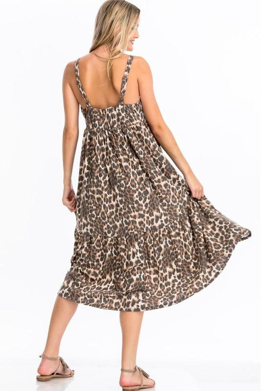 Taupe Leopard Print Midi Dress