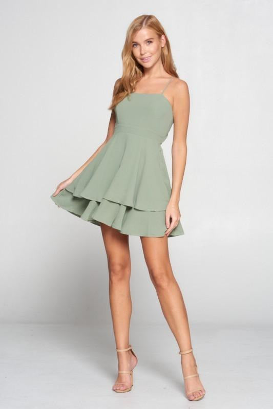 Sage Tie Back Skater Dress
