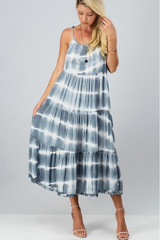 Tie Dye Layered Ruffle Dress