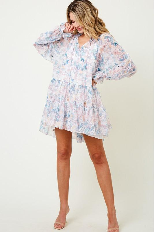 Paisley Ruffle Tiered Babydoll Dress