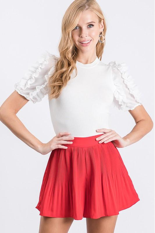 Red Pleated Dressy Shorts