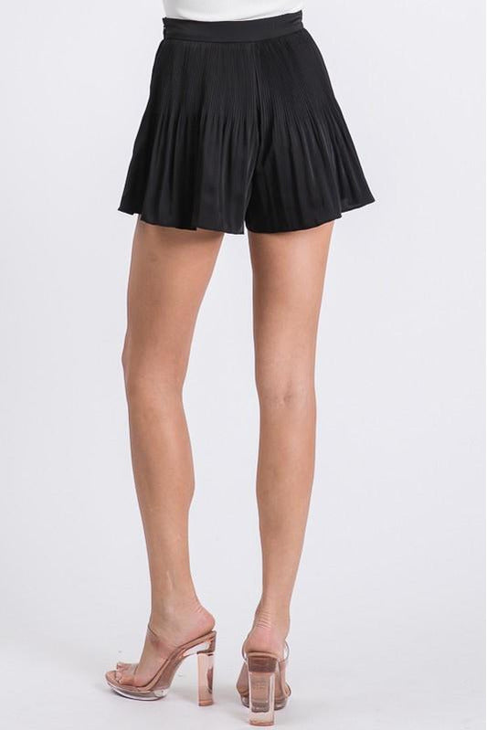 Black Pleated Dressy Shorts