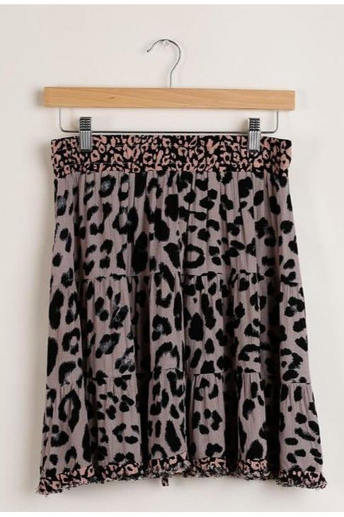 Mixed Cheetah Mini Skirt