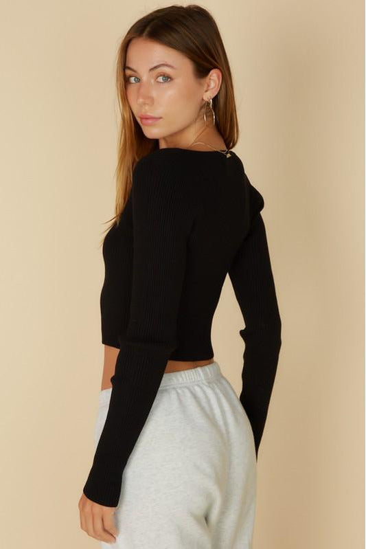 Pearl Button Crop Sweater