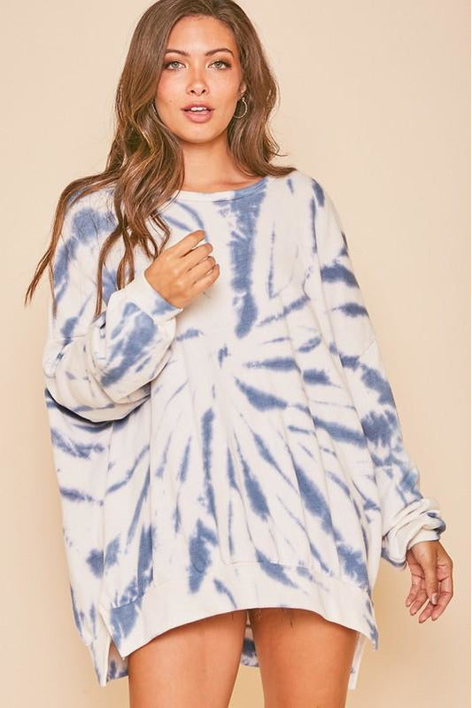 Spiraling Up Denim Tie Dye Sweatshirt