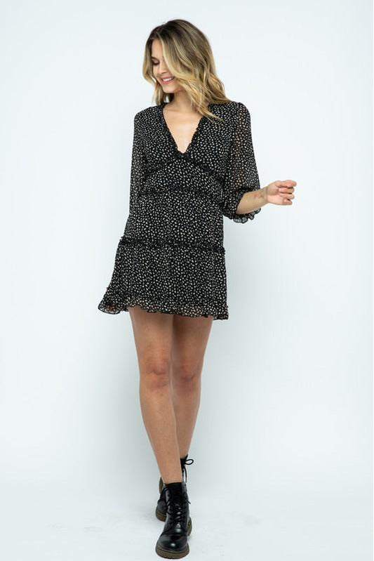 Black Print Long Sleeve Ruffle Dress