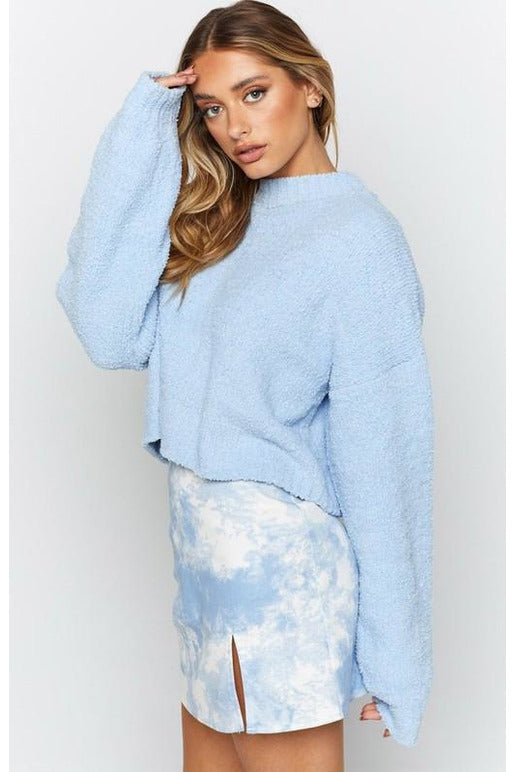 Super Soft Blue Crop Sweater