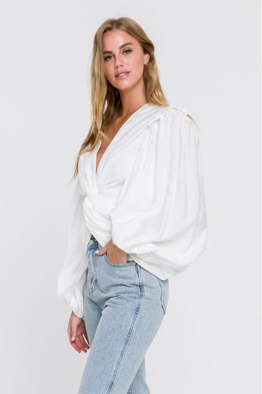 White Front Knotted Blouse