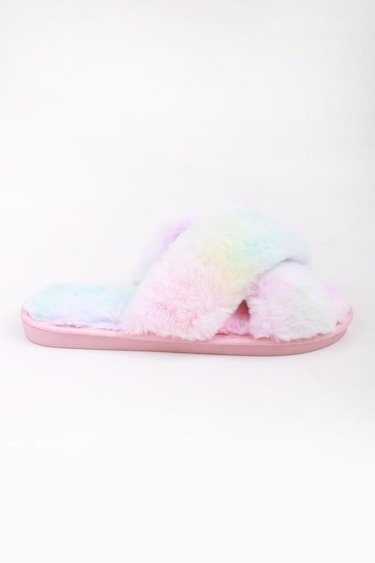 Plush Pink Tie Dye Slippers