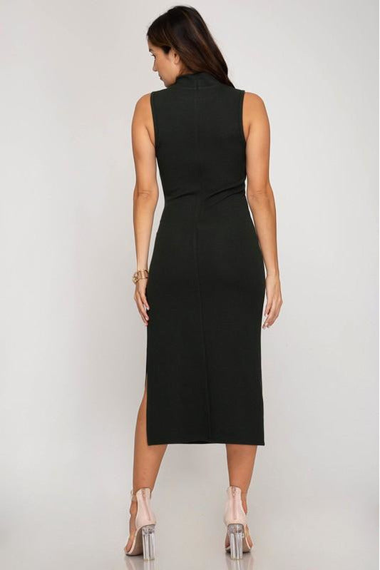 Secret Society High Neck Midi Dress