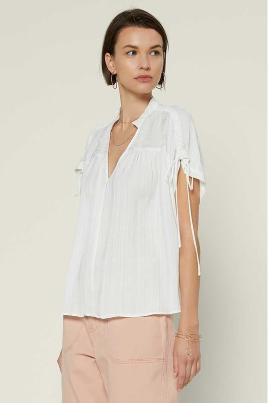 Drawstring Shoulder V-Neck Top