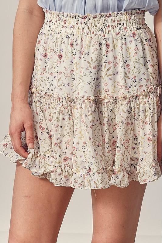 Dainty Flowers Ruffle Skirt