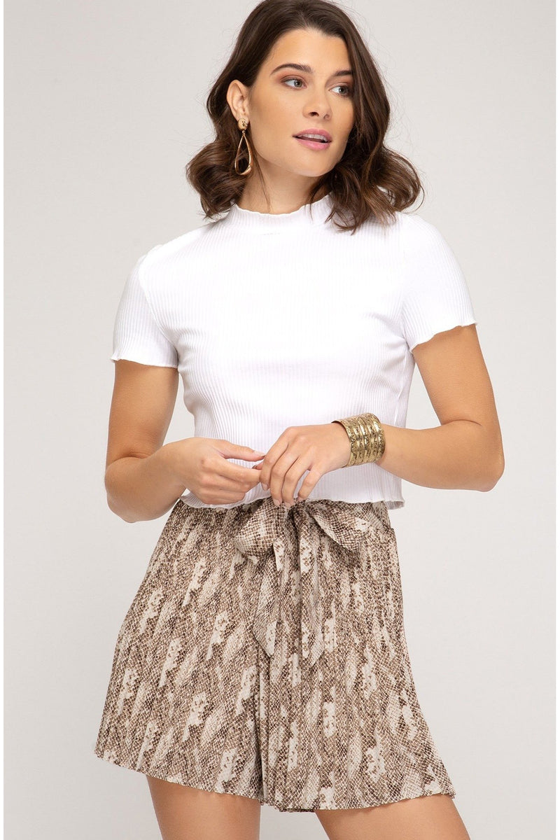 Mocha Pleated Shorts
