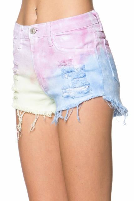Tie Dye Distressed Shorts