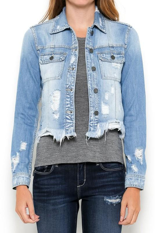 Light Wash Frayed Hem Jean Jacket