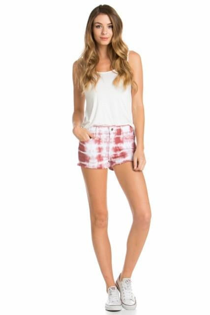 Mauve Tie Dye Distressed Shorts