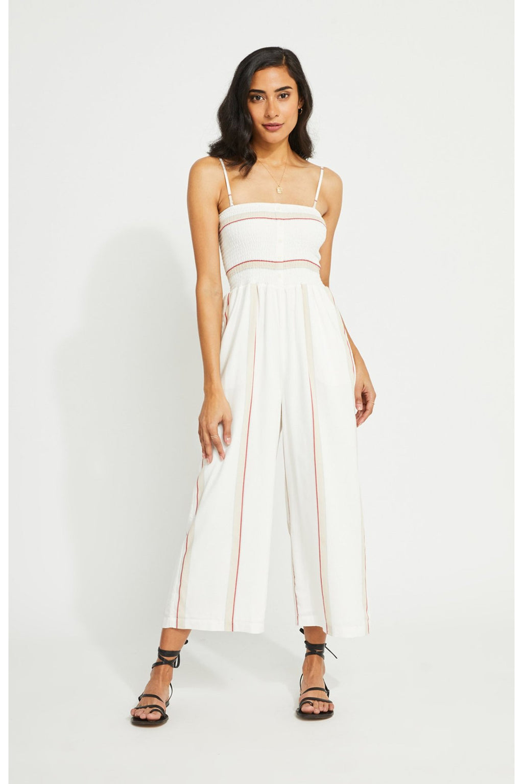 Hannah Jumpsuit White Widespace Stripe