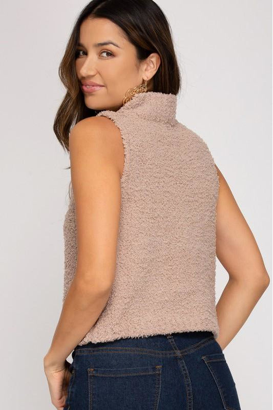 Sleeveless High Neck Fuzzy Sweater