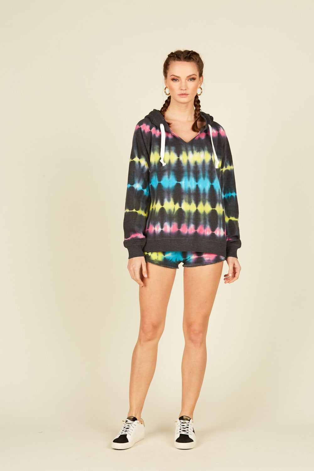 Black Rainbow Tie Dye Stripe Fleece Shorts