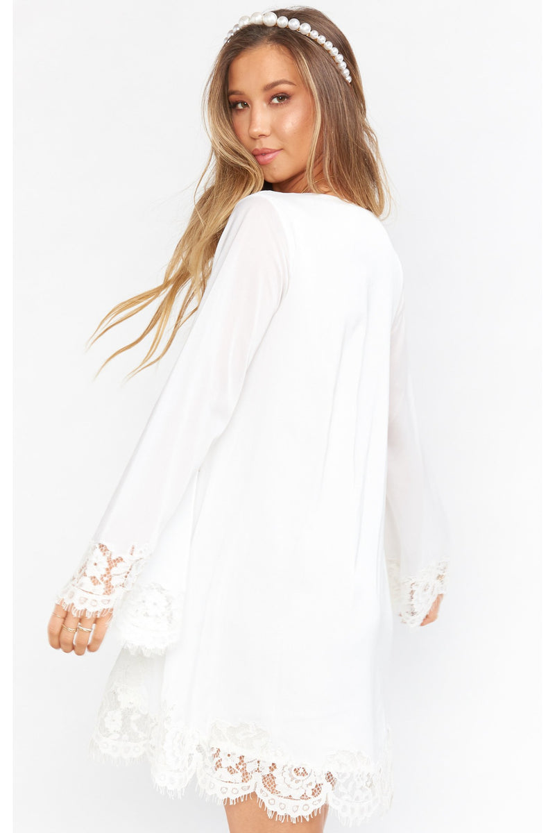 White Lace Carrie Flare Mini Dress