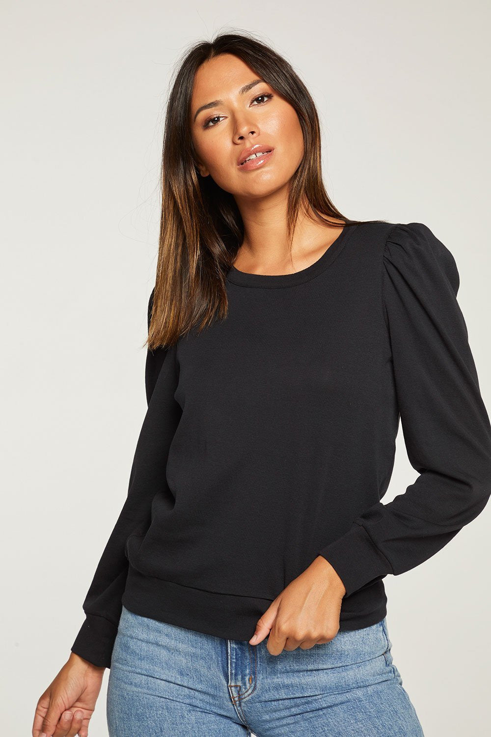 Baby Rib Puff Sleeve Top